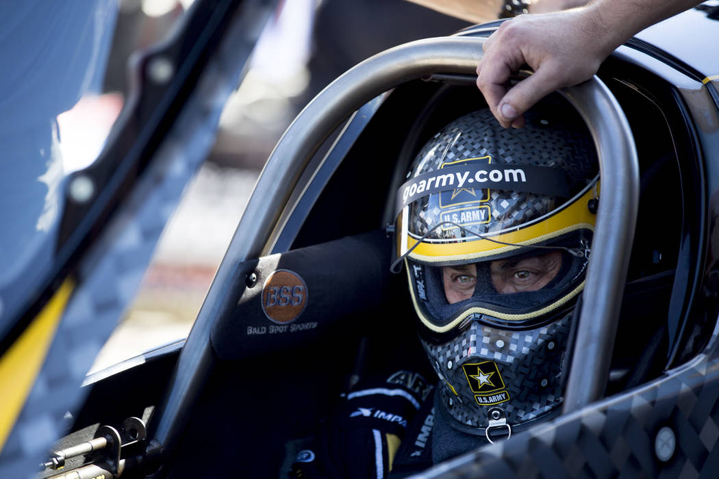 Top Fuel driver Tony Schumacher prepares to race at the DENSO Spark Plugs NHRA Nationals at The Strip at Las Vegas Motor Speedway on Sunday, April 2, 2017, in Las Vegas. Schumacher was the runner  ...