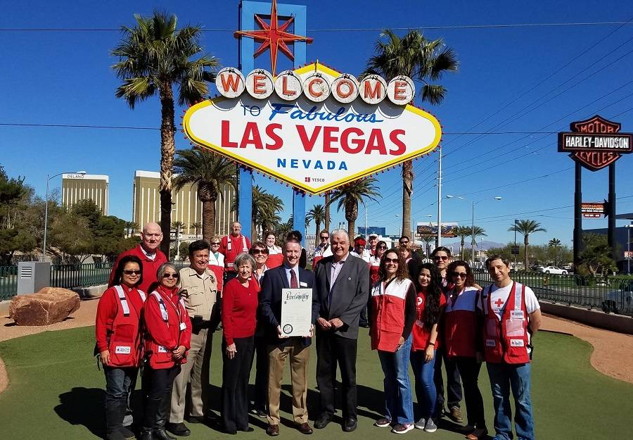 COURTESY Findlay Automotive Group CFO Tyler Corder (center left), Clark County Commissioners and Red Cross volunteers kick off the 100th anniversary of the Red Cross in Southern Nevada. Corder is  ...