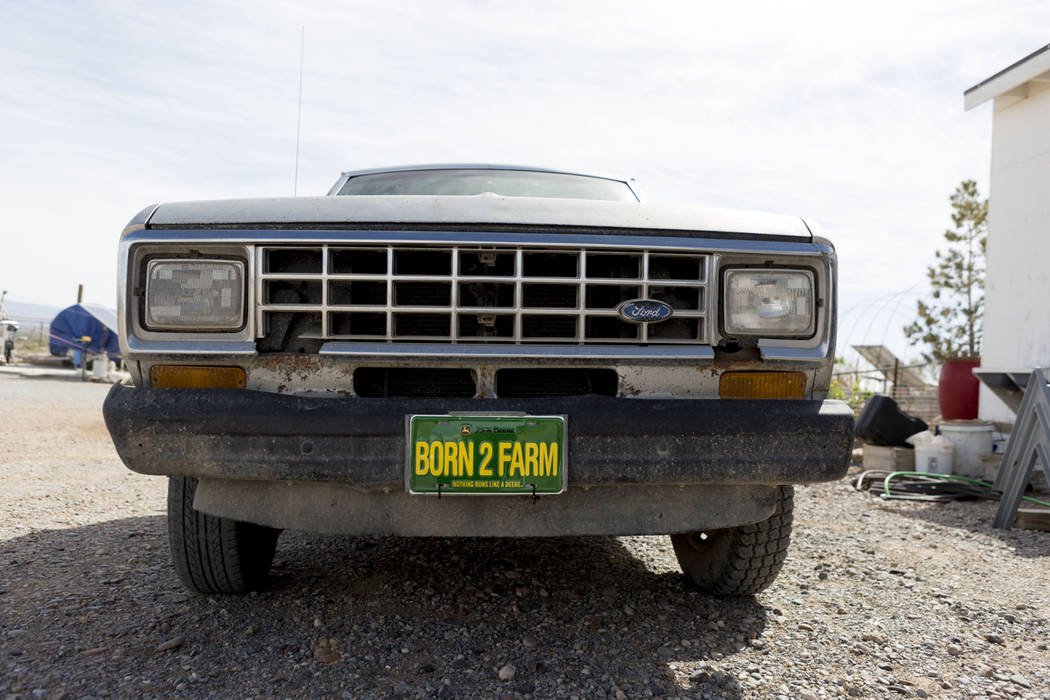 The Desert Bloom Eco Farm truck on the farm in Tecopa, Calif. Thursday, March 23, 2017. (Elizabeth Brumley/Las Vegas Review-Journal) @EliPagePhoto