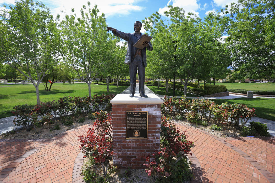 """A statue of C.P. """"Pop"""" Squires stands in a park at the end of Norman Rockwell Lane, which runs through The Villages of Centennial Springs in Las Vegas on Thursday, March 23, 2017 ..."""