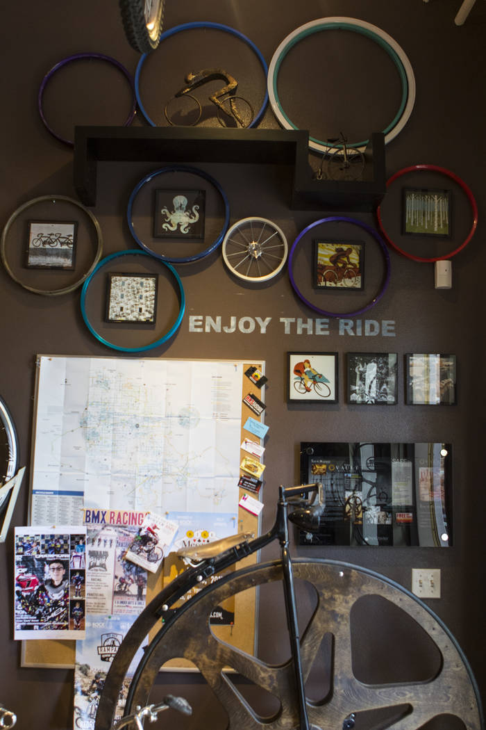 An interior wall at The Vault Bicycle Shop at the Village of Centennial Springs in Las Vegas on Saturday, April 1, 2017. (Miranda Alam/Las Vegas Review-Journal) @miranda_alam