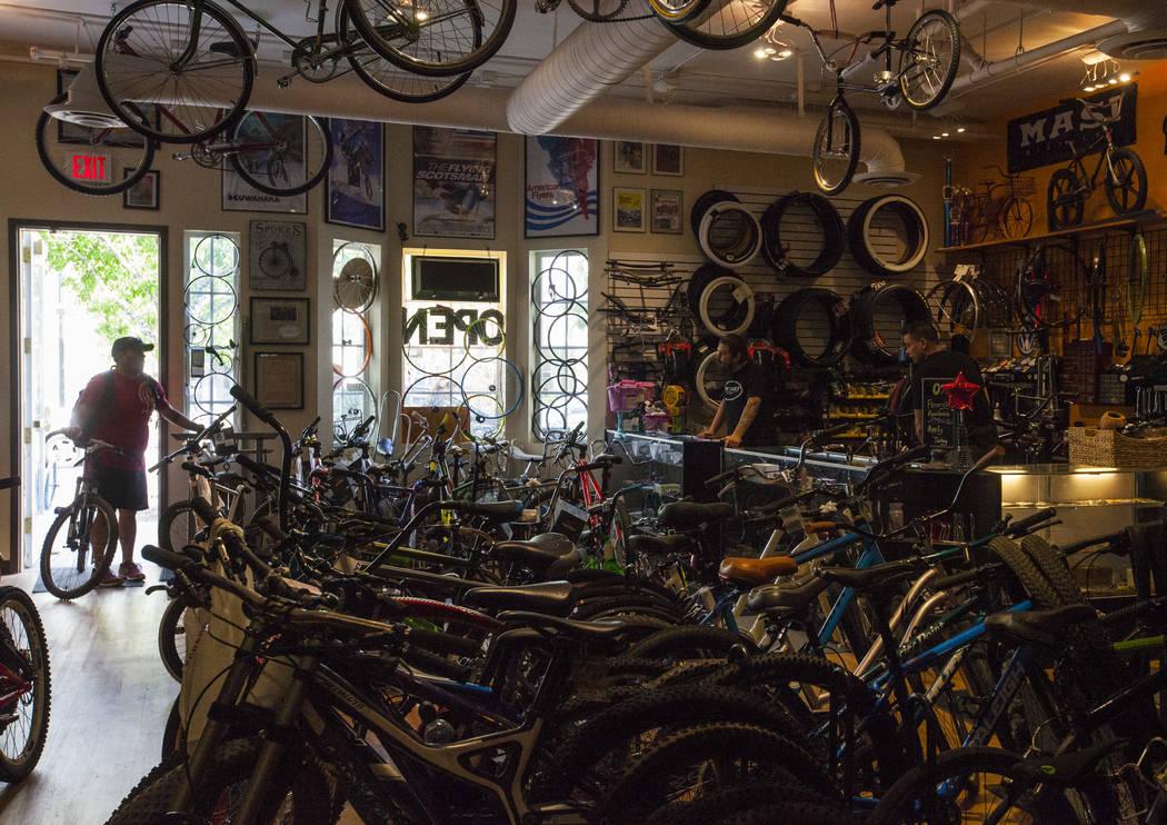 Lance Tanner enters The Vault Bicycle Shop at the Village of Centennial Springs in Las Vegas on Saturday, April 1, 2017. (Miranda Alam/Las Vegas Review-Journal) @miranda_alam