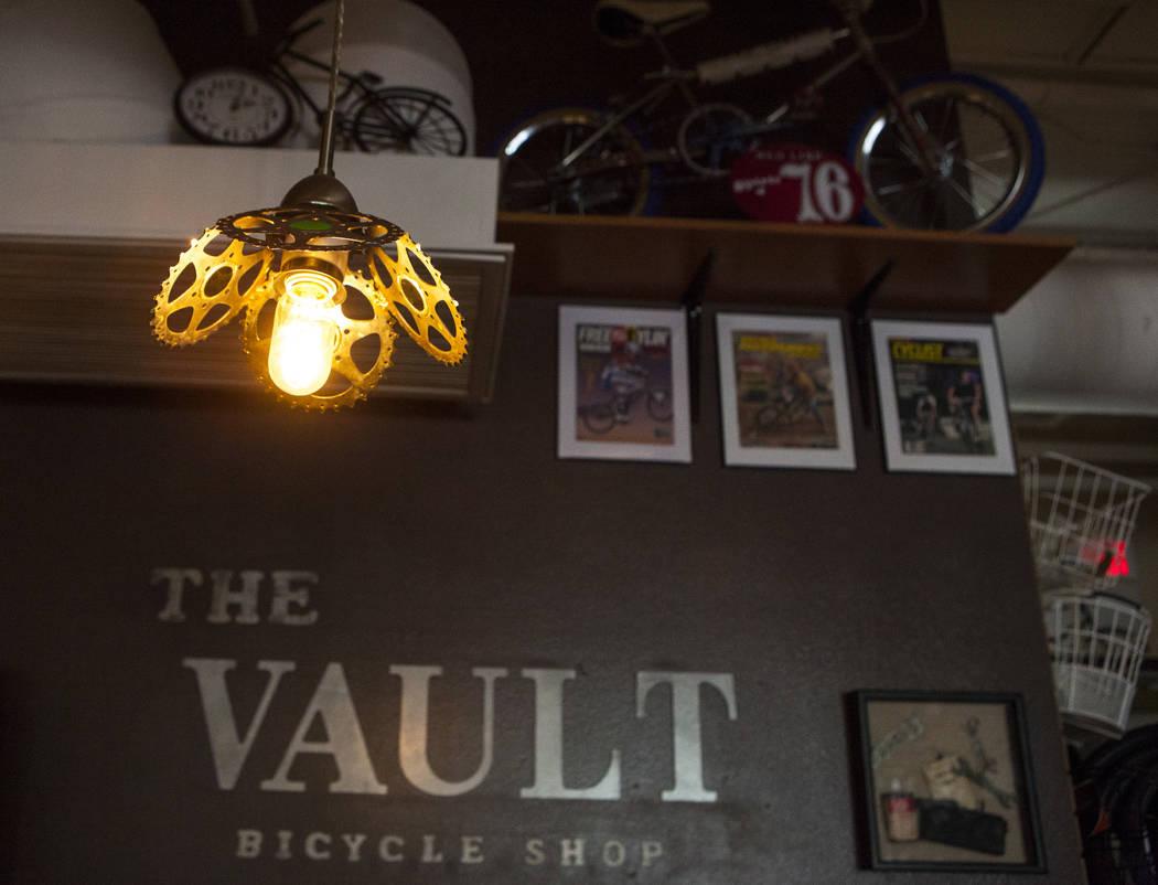 An interior detail at The Vault Bicycle Shop at the Village of Centennial Springs in Las Vegas on Saturday, April 1, 2017. (Miranda Alam/Las Vegas Review-Journal) @miranda_alam