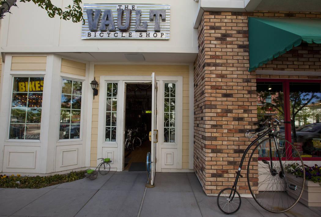 The exterior of The Vault Bicycle Shop at the Village of Centennial Springs in Las Vegas on Saturday, April 1, 2017. (Miranda Alam/Las Vegas Review-Journal) @miranda_alam