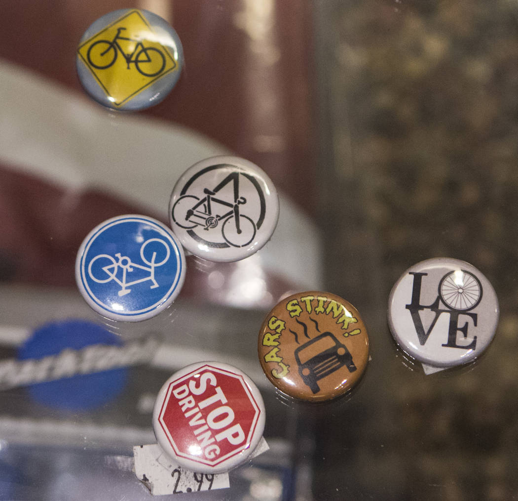 Buttons sit inside of a glass case at The Vault Bicycle Shop at the Village of Centennial Springs in Las Vegas on Saturday, April 1, 2017. (Miranda Alam/Las Vegas Review-Journal) @miranda_alam