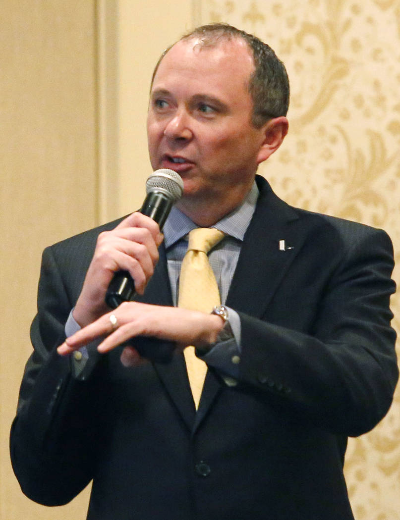"""President and CEO of Nevada State Bank Terry Shirey gives a presentation titled the """"Evolution of Banking"""" at the Gold Coast Hotel and Casino on Thursday, March 23, 2017, in Las  ..."""