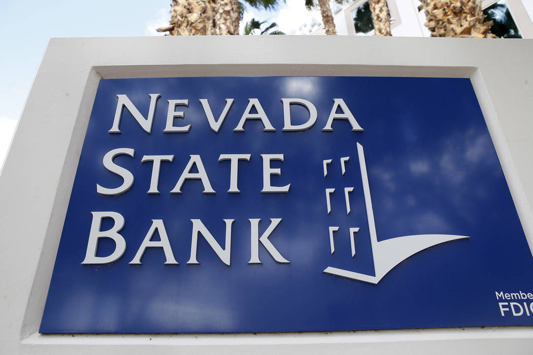 A Nevada State Bank sign outside of the bank which is located at 750 E Warm Springs Rd on Thursday, March 23, 2017, in Las Vegas. (Christian K. Lee/Las Vegas Review-Journal) @chrisklee_jpeg