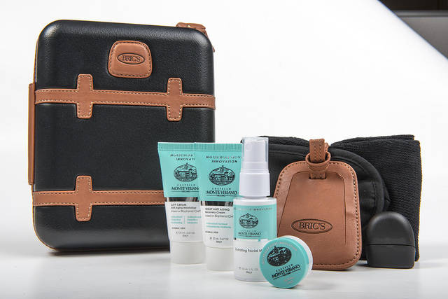 Bric's men's first-class amenities bag from Qatar Airways. (Qatar Airways)