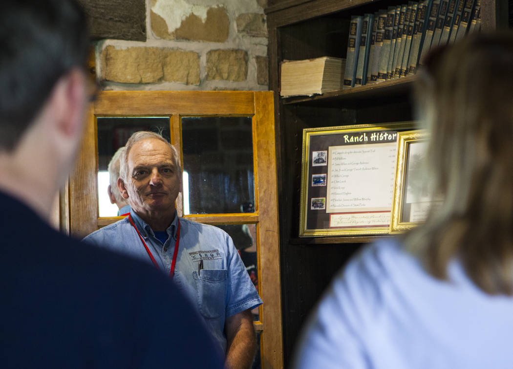 Volunteer Michael Emminger gives a tour at the main ranch house during the Mojave Spring Fling Festival at Spring Mountain Ranch State Park on Saturday, April 1, 2017. (Miranda Alam/Las Vegas Revi ...