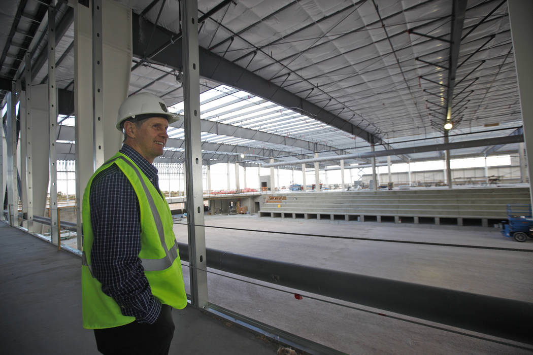 Murray Craven, vice president for the Golden Knights hockey team, stands overlooking the future ice rink at the team's practice facility construction site on Monday, March 27, 2017, in Las Vegas.  ...