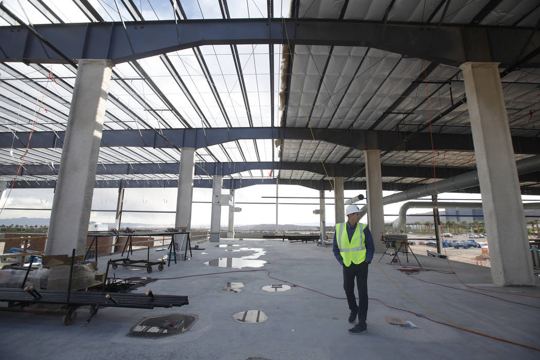 Murray Craven, vice president for the Golden Knights hockey team, stands in the future dining area at the team's practice facility construction site on Monday, March 27, 2017, in Las Vegas. (Rache ...