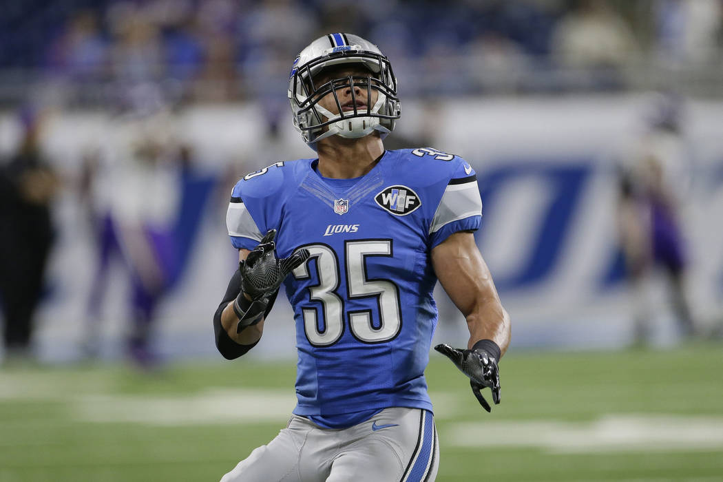 Detroit Lions strong safety Miles Killebrew waits on the ball during warmups of an NFL football game against the Minnesota Vikings, Thursday, Nov. 24, 2016 in Detroit. (AP Photo/Duane Burleson)
