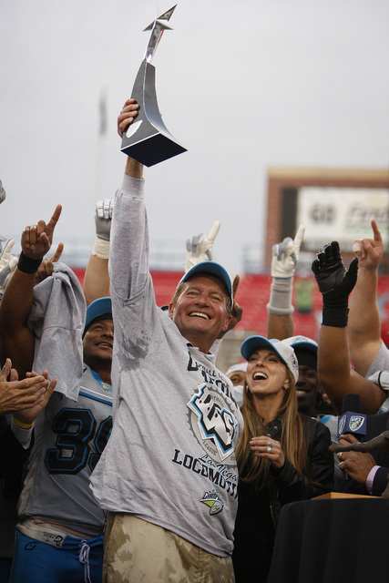 JOHN LOCHER/LAS VEGAS REVIEW-JOURNAL Las Vegas Locomotives head coach Jim Fassel celebrates a win against the Florida Tuskers in the inaugural United Football League Championship football game at  ...