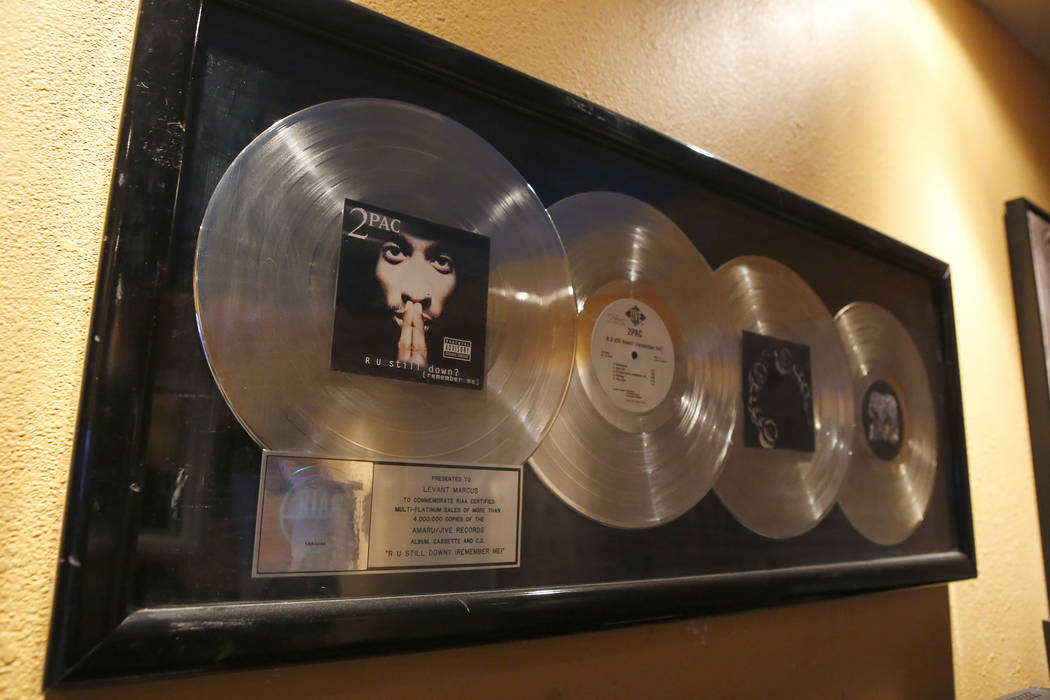 Levant Marcus' multi platinum awards for his work with American rap artist 2Pac hangs at the Digiworld Entertainment recording studio on Tuesday, March 28, 2017, in North Las Vegas. (Christian K.  ...
