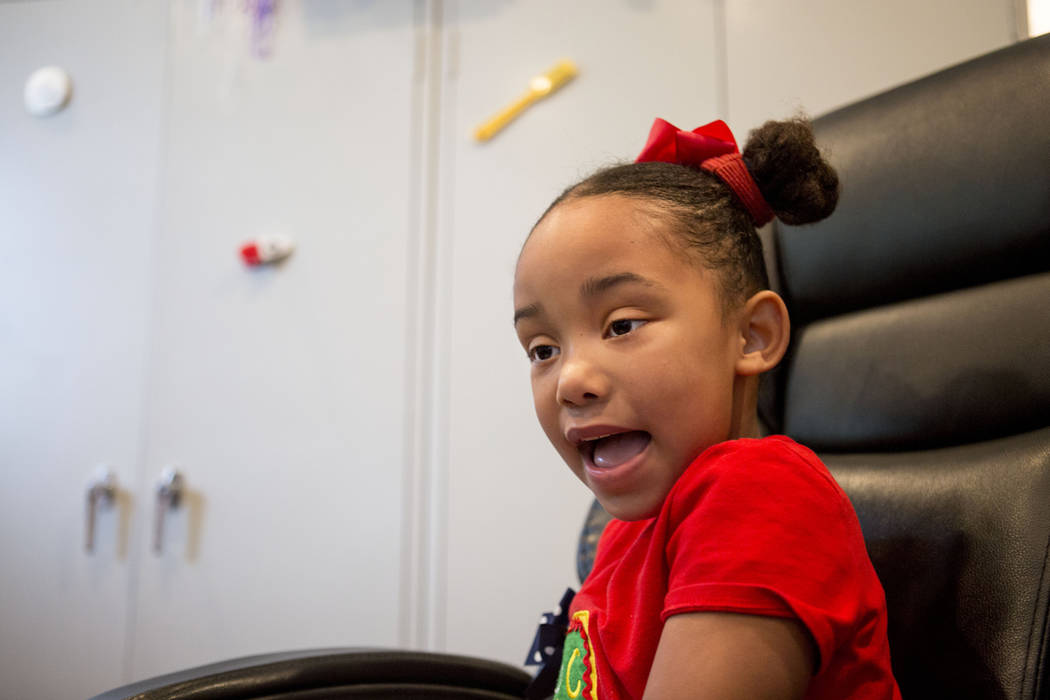 Client Hannah Beal, 4, engages in play therapy at the UNLV Medicine Ackerman Autism Center in Las Vegas, Wednesday, March 29, 2017. (Elizabeth Brumley/Las Vegas Review-Journal) @EliPagePhoto