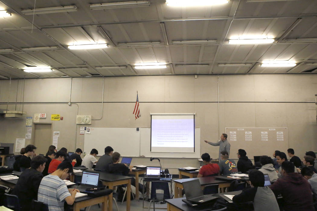Alex Bechtler instructs a manufacturing class at the Southeast Career and Technical Academy on Wednesday, March 29, 2017, in Las Vegas. (Christian K. Lee/Las Vegas Review-Journal) @chrisklee_jpeg