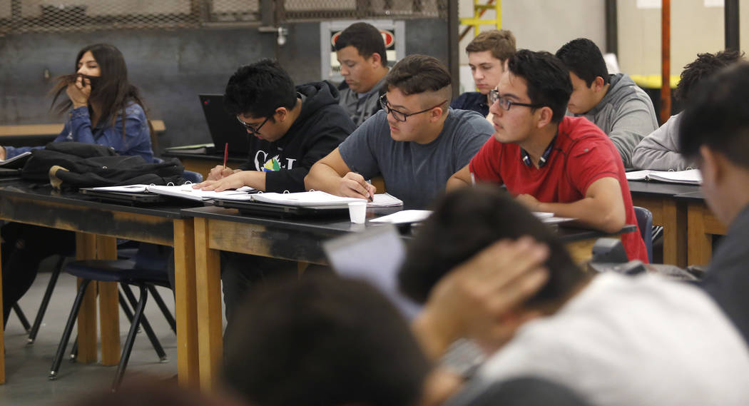 Students takes notes during a manufacturing class at the Southeast Career and Technical Academy on Wednesday, March 29, 2017, in Las Vegas. (Christian K. Lee/Las Vegas Review-Journal) @chrisklee_jpeg