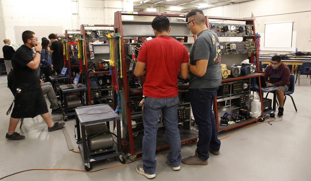 Students complete a class task during a manufacturing class at the Southeast Career and Technical Academy on Wednesday, March 29, 2017, in Las Vegas. (Christian K. Lee/Las Vegas Review-Journal) @c ...