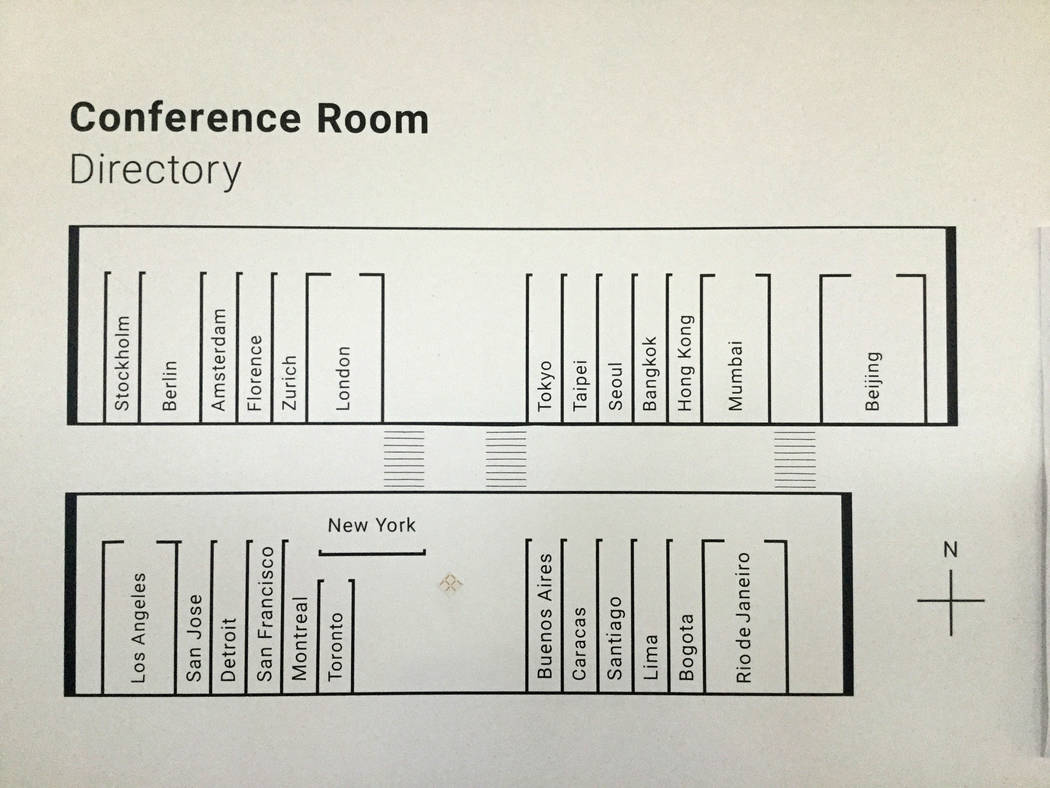 Faraday Future's main research and development facility has 25 conference rooms named after cities. A conference room directory is seen mounted on a hallway wall on Thursday, March 23, 2017,in Gar ...