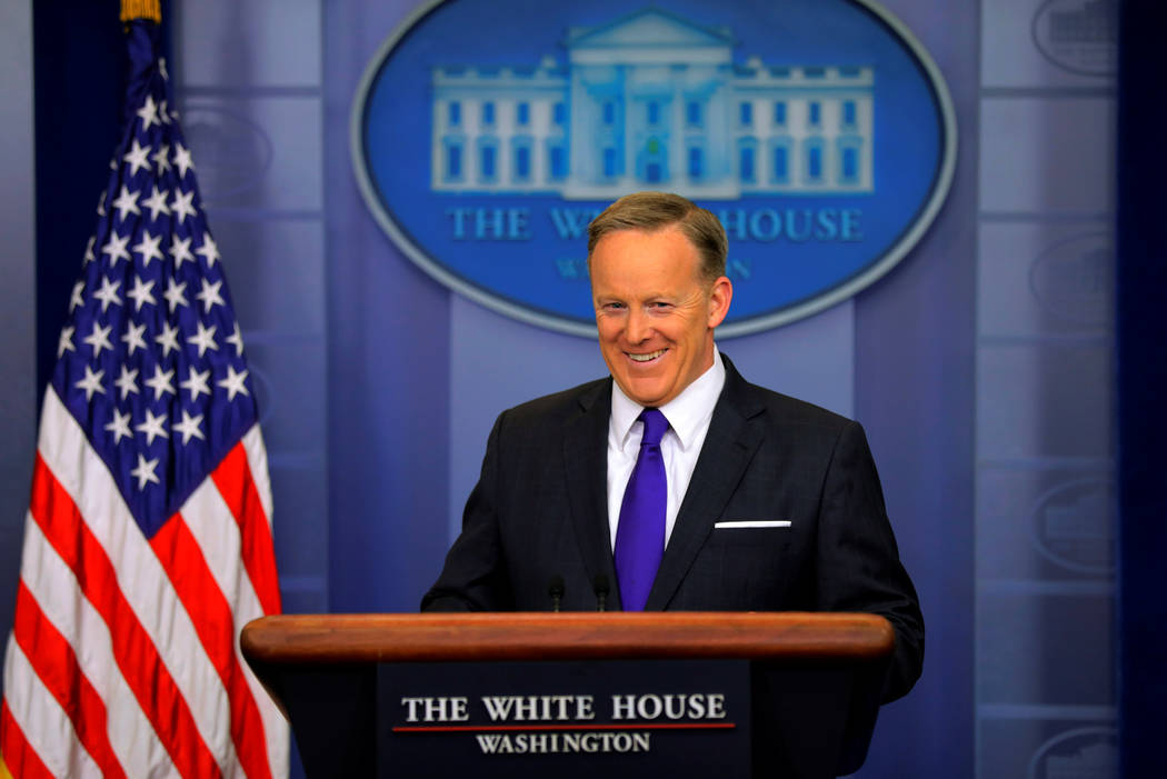 White House Press Secretary Sean Spicer holds the daily press briefing at the White House in Washington, U.S. March 30, 2017. (Jonathan Ernst/Reuters)