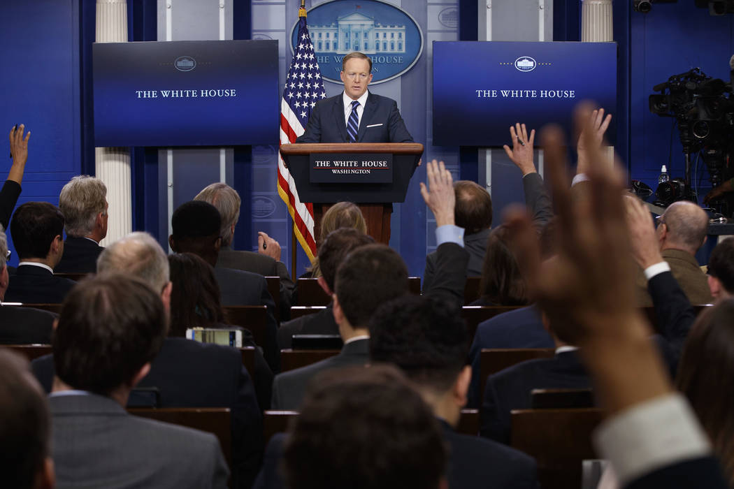 White House press secretary Sean Spicer speaks during the daily press briefing at the White House, Friday, March 31, 2017, in Washington. (Evan Vucci/AP)