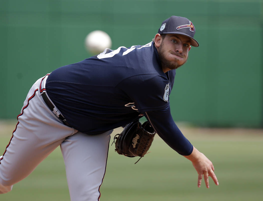 Atlanta Braves starting pitcher Aaron Blair throws in the first inning in a spring training baseball game against the Philadelphia Phillies, Tuesday, March 14, 2017, in Clearwater, Fla. (AP Photo/ ...