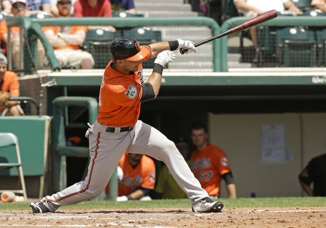 Baltimore Orioles' Joey Rickard hits a single against the Atlanta Braves in the thirds inning of a spring training baseball game, Tuesday, March 28, 2017, in Kissimmee, Fla. (AP Photo/John Raoux)