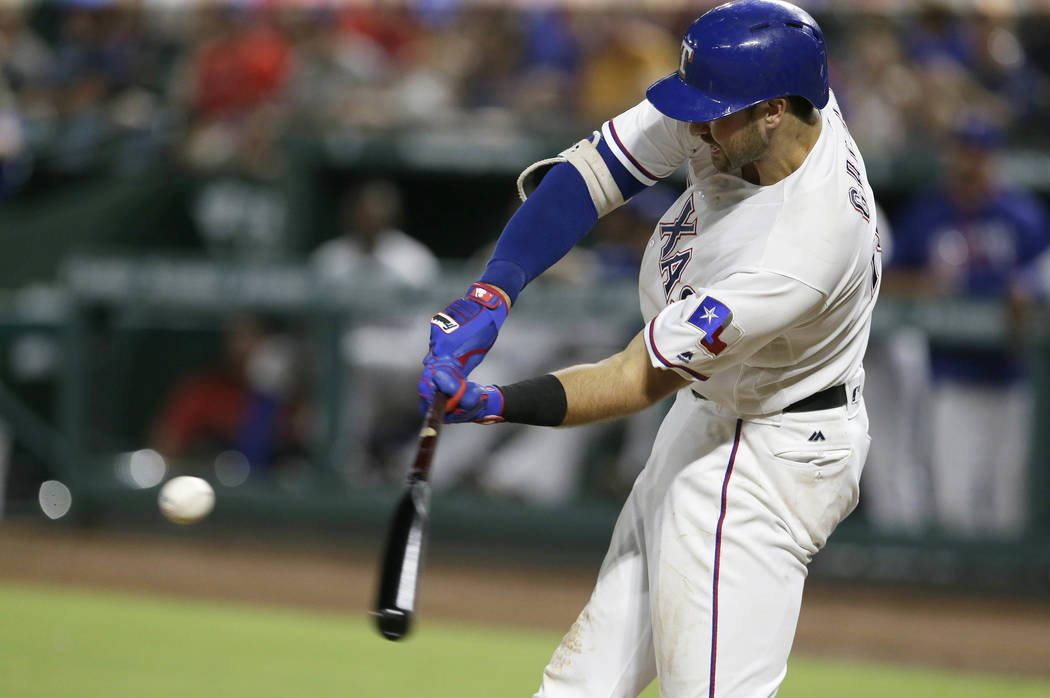 Texas Rangers Joey Gallo hits a home run during the fifth inning of a baseball game against the Oakland Athletics in Arlington, Texas, Tuesday, July 26, 2016. (AP Photo/LM Otero)