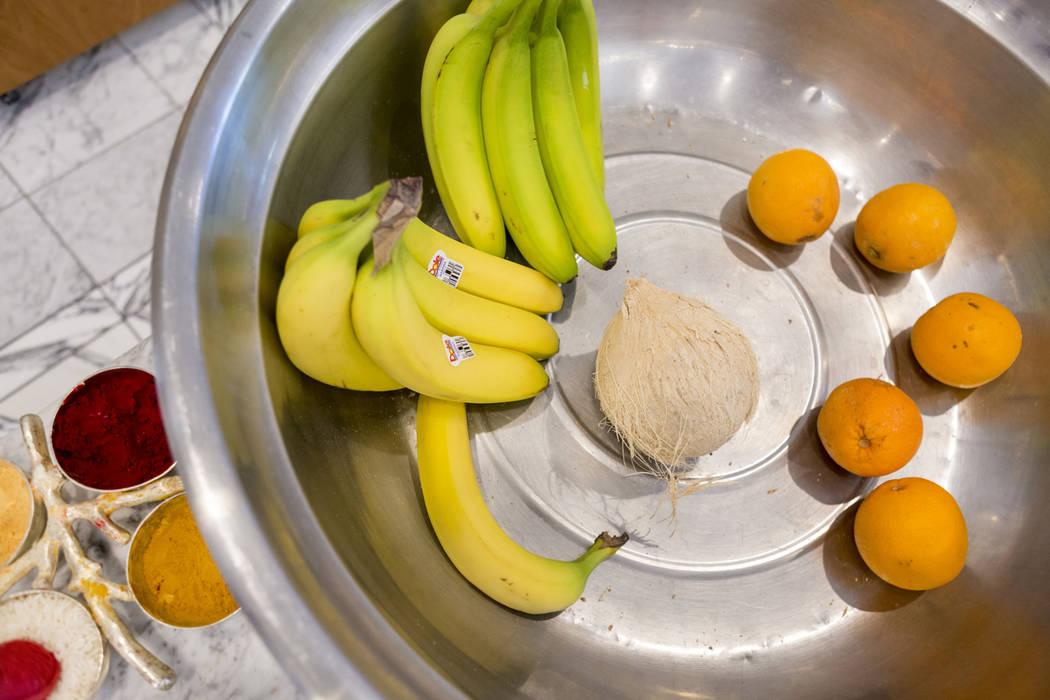 Fruit offerings before gods at the Hindu Temple of Las Vegas in Las Vegas, Wednesday, March 29, 2017. (Elizabeth Brumley/Las Vegas Review-Journal) @EliPagePhoto