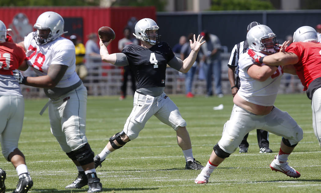 UNLV's Johnny Stanton (4) throws the ball during a UNLV spring football exhibition at the Peter Johann Memorial Field on Saturday, April 1, 2017, in Las Vegas. (Christian K. Lee/Las Vegas Review-J ...