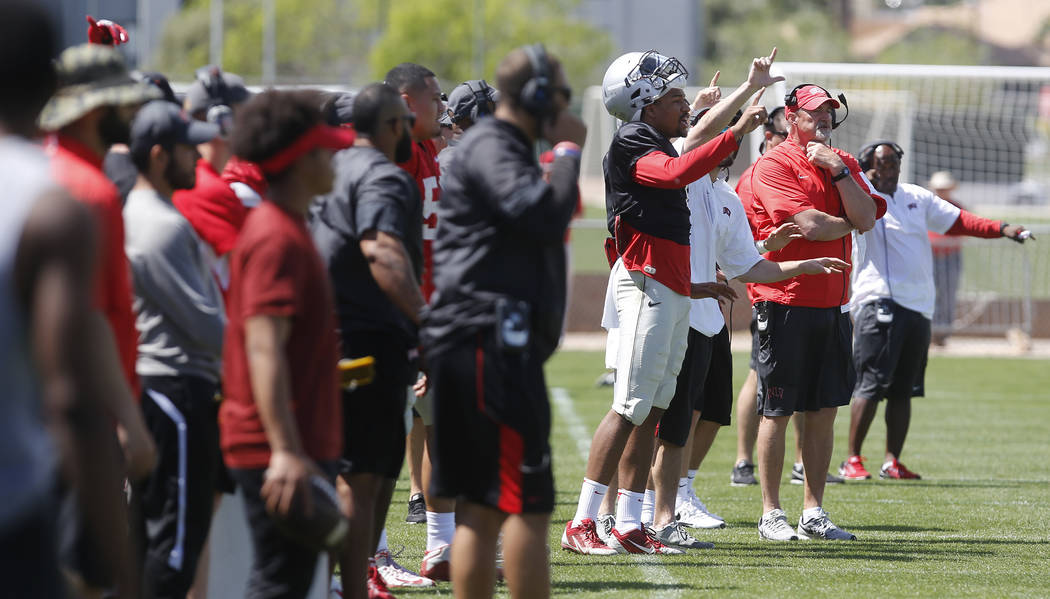 UNLV football players react during a UNLV spring football exhibition at the Peter Johann Memorial Field on Saturday, April 1, 2017, in Las Vegas. (Christian K. Lee/Las Vegas Review-Journal) @chris ...