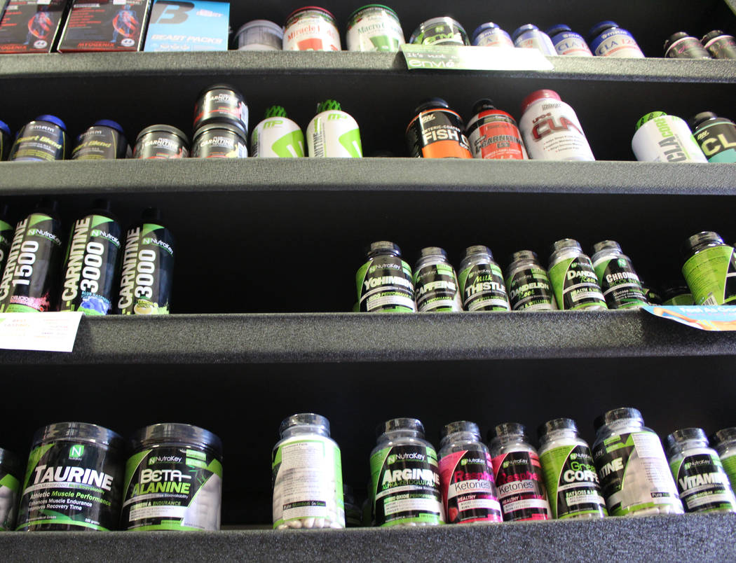 Supplements and protein powders at Spartan Sports Nutrition in North Las Vegas, Wednesday, March 29, 2017. (Gabriella Benavidez/Las Vegas Review-Journal) @gabbydeebee