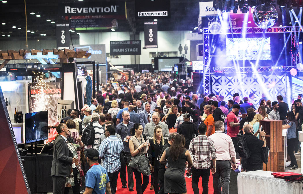 Thousands of convention goers walk the floor during the 2017 Nightclub & Bar Show at the Las Vegas Convention Center on Tuesday, March 29, 2017, in Las Vegas. (Benjamin Hager/Las Vegas Review- ...