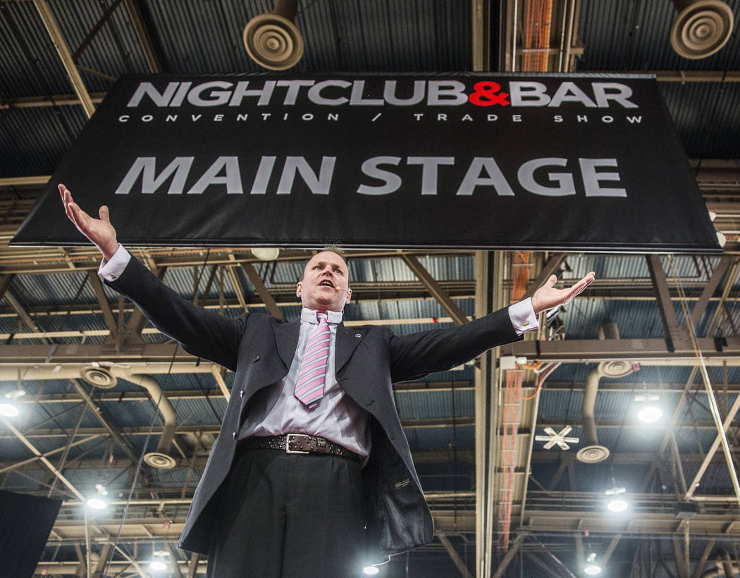 MC Dean Serneels announces the next competitor during the Shake It Up Flair Competition at the 2017 Nightclub & Bar Show at the Las Vegas Convention Center on Tuesday, March 29, 2017, in Las V ...