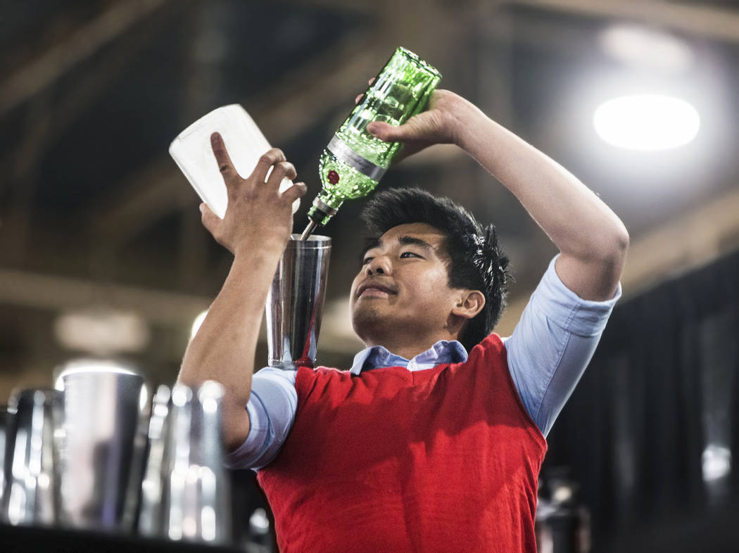 Bartender Ram Ong competes in the Shake It Up Flair Competition during the 2017 Nightclub & Bar Show at the Las Vegas Convention Center on Tuesday, March 29, 2017, in Las Vegas. (Benjamin Hage ...