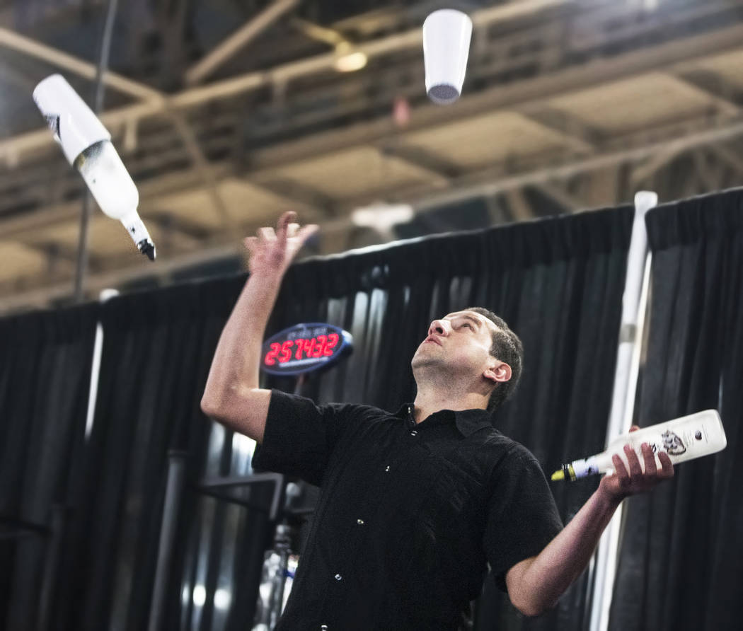 Bartender Hector Rangel competes in the Shake It Up Flair Competition during the 2017 Nightclub & Bar Show at the Las Vegas Convention Center on Tuesday, March 29, 2017, in Las Vegas. (Benjami ...