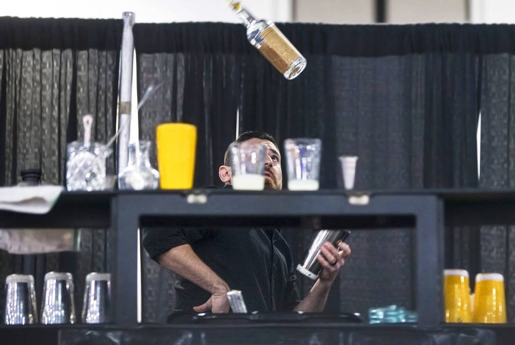 Bartender Mariano Gil Jr. competes in the Shake It Up Flair Competition during the 2017 Nightclub & Bar Show at the Las Vegas Convention Center on Tuesday, March 29, 2017, in Las Vegas. (Benja ...