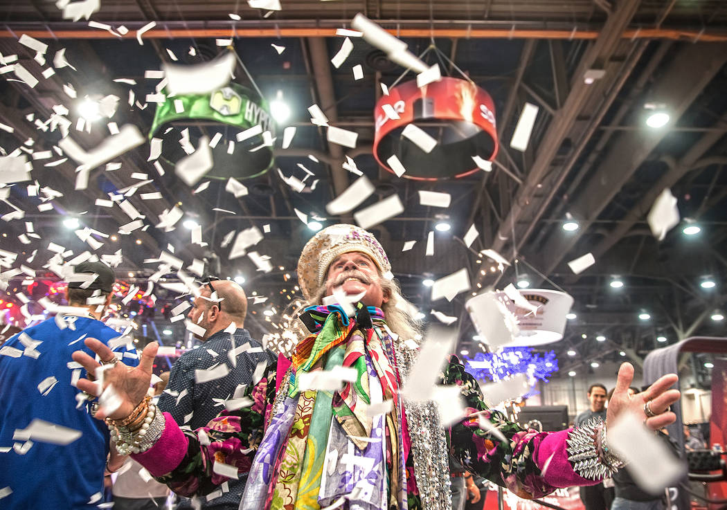 Gary Fisher dances in a stream of confetti during the 2017 Nightclub & Bar Show at the Las Vegas Convention Center on Tuesday, March 29, 2017, in Las Vegas. (Benjamin Hager/Las Vegas Review-Jo ...