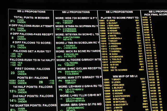 Various prop bets appear at the Westgate sports book on Thursday, Jan. 26, 2017, in Las Vegas. The sports book posted nearly 400 Super Bowl prop bets. (Christian K. Lee/Las Vegas Review-Journal) @ ...
