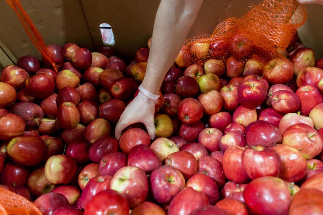 Volunteers bag apples during Good Deeds Day at Three Square Food Bank in Las Vegas, Sunday, April 2, 2017. (Elizabeth Brumley Las Vegas Review-Journal) @EliPagePhoto