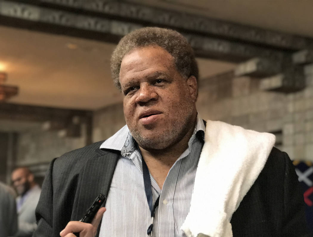 Oakland Raiders general manager Reggie McKenzie speaks with reporters about the growth of the team's roster at the Biltmore Arizona Hotel in Phoenix, Ariz., on March 28, 2017. (Heidi Fang/Las Vega ...