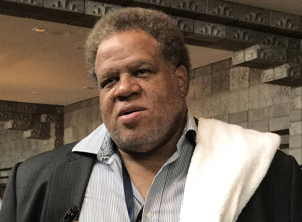 Oakland Raiders general manager Reggie McKenzie speaks with reporters about the growth of the team at the Biltmore Arizona Hotel in Phoenix, Ariz., on March 28, 2017. (Heidi Fang/Las Vegas Review- ...