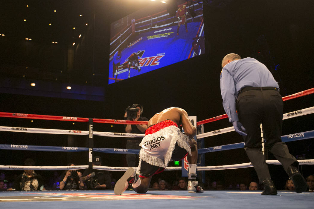 KeAndre Gibson takes a knee after getting knocked out by Antonio Orozco, not pictured, at The Chelsea at The Cosmopolitan hotel-casino on Saturday, April 1, 2017, in Las Vegas. (Bridget Bennett/La ...