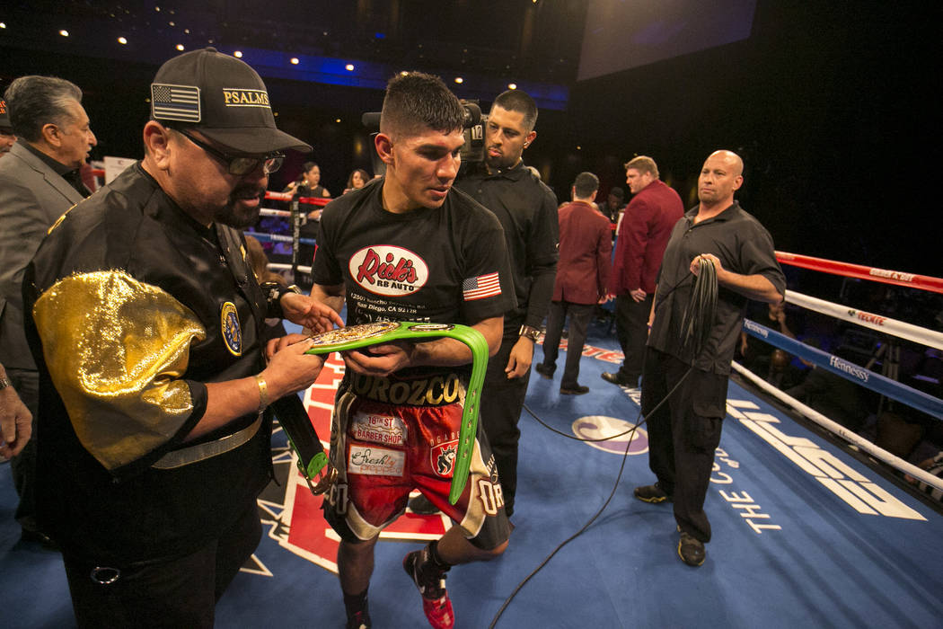 Antonio Orozco after his knockout win over KeAndre Gibson in their super lightweight match at The Chelsea at The Cosmopolitan hotel-casino on Saturday, April 1, 2017, in Las Vegas. (Bridget Bennet ...