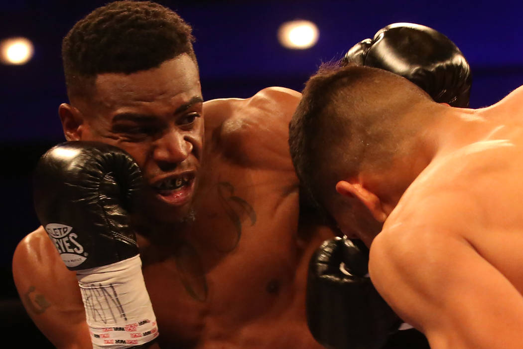 KeAndre Gibson, left, hits Antonio Orozco during their super lightweight match at The Chelsea at The Cosmopolitan hotel-casino on Saturday, April 1, 2017, in Las Vegas. Orozco had a knockout win.( ...