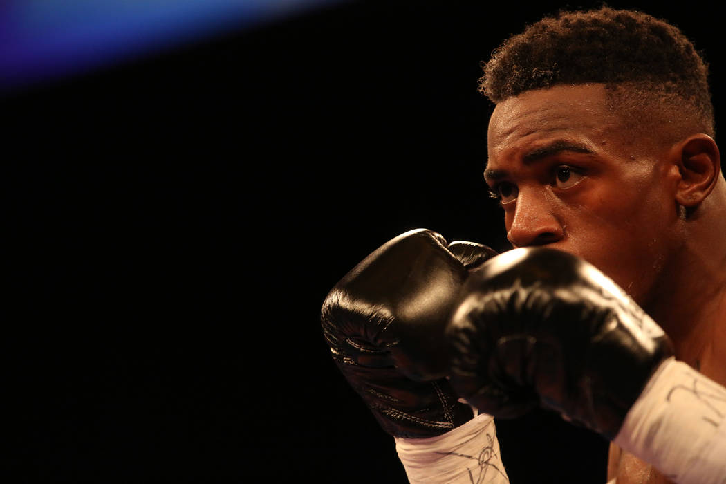KeAndre Gibson blocks his face while he stares down Antonio Orozco, not pictured, during their super lightweight match at The Chelsea at The Cosmopolitan hotel-casino on Saturday, April 1, 2017, i ...
