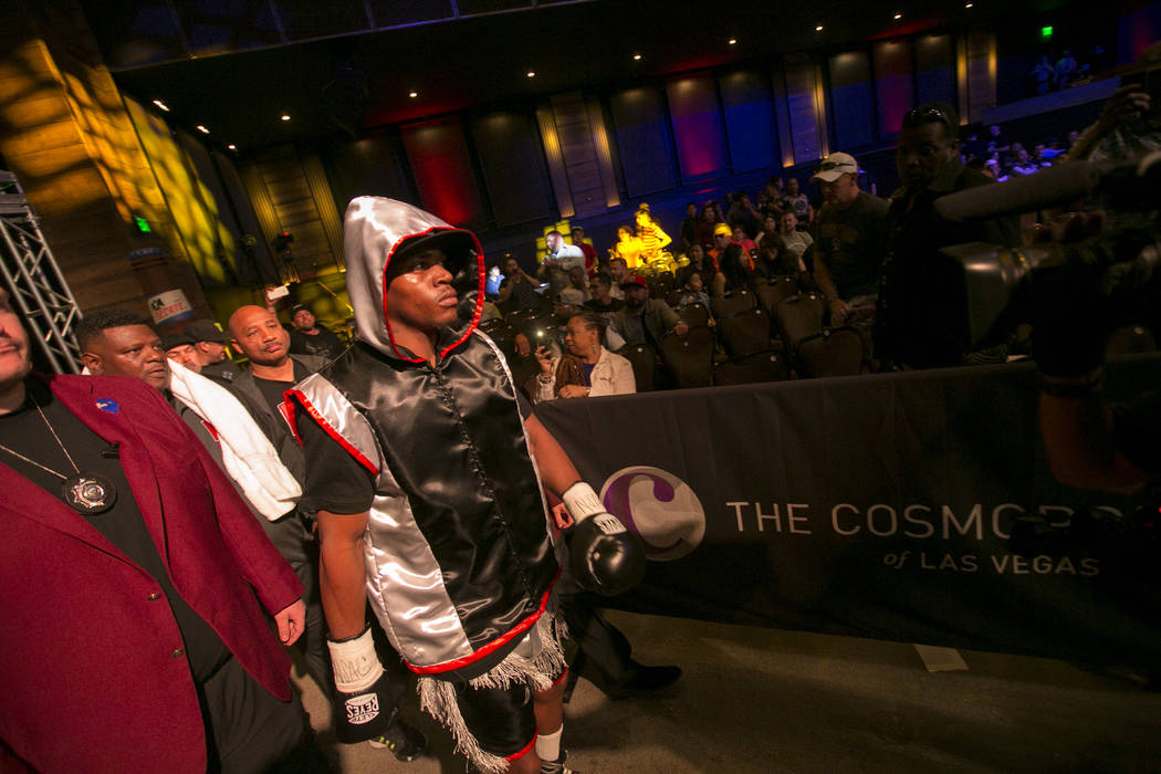 KeAndre Gibson enters the arena prior to his super lightweight match against Antonio Orozco at The Chelsea at The Cosmopolitan hotel-casino on Saturday, April 1, 2017, in Las Vegas. Orozco had a k ...