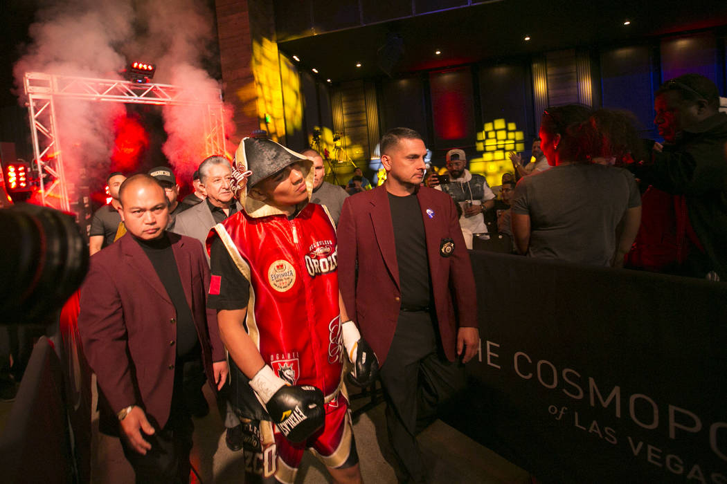Antonio Orozco enters the arena prior to his super lightweight match against KeAndre Gibson at The Chelsea at The Cosmopolitan hotel-casino on Saturday, April 1, 2017, in Las Vegas. Orozco had a k ...