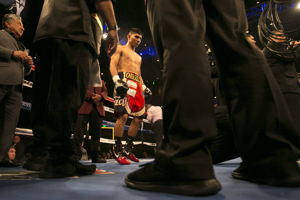 Antonio Orozco the ring prior to his super lightweight match against KeAndre Gibson at The Chelsea at The Cosmopolitan hotel-casino on Saturday, April 1, 2017, in Las Vegas. Orozco had a knockout  ...
