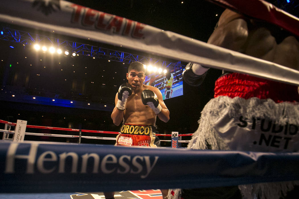 Antonio Orozco, left, prepares to hit KeAndre Gibson during their super lightweight match at The Chelsea at The Cosmopolitan hotel-casino on Saturday, April 1, 2017, in Las Vegas. Orozco had a kno ...